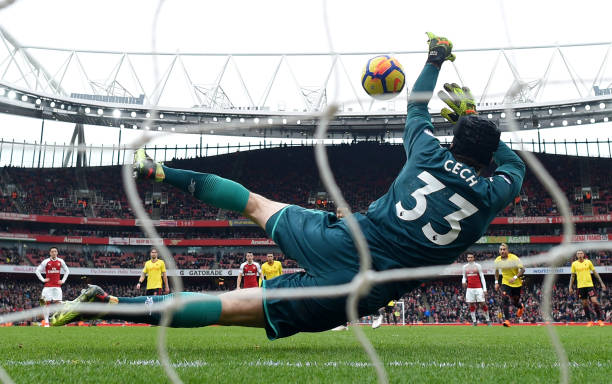 LONDON, ENGLAND - MARCH 11: Troy Deeney of Watford sees his penalty saved by Petr Cech of Arsenal during the Premier League match between Arsenal and Watford at Emirates Stadium on March 11, 2018 in London, England. (Photo by Michael Regan/Getty Images)