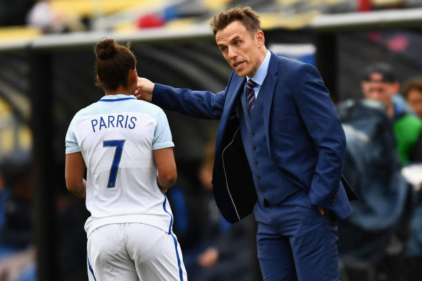 Phil Neville speaking to Nikita Parris during England Women v France Women in the SheBelieves Cup