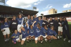 4 May 1997: The Millwall Lionesses celebrate winning Women's FA Cup after beating Wembley Ladies at Upton Park in London, England. Millwall Lionesses won 1-0. \ Mandatory Credit: Mike Hewitt /Allsport