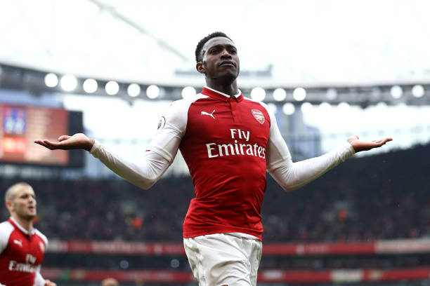 LONDON, ENGLAND - APRIL 08: Danny Welbeck of Arsenal celebrates scoring his sides third goal during the Premier League match between Arsenal and Southampton at Emirates Stadium on April 8, 2018 in London, England. (Photo by Bryn Lennon/Getty Images)