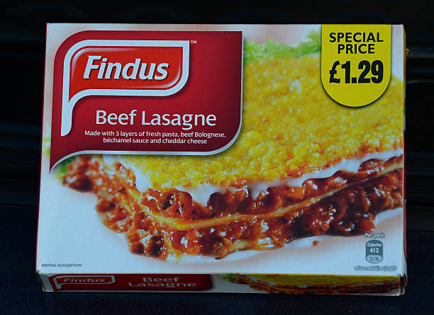 A picture shows the front of a Findus 320g beef lasagne frozen readymeal box taken near Sunderland on February 8, 2013. Tests confirming beef lasagne sold under the Findus brand contained up to 100 percent horsemeat sparked a wider food scare in Britain on February 8 with authorities ordering urgent tests on all beef products on sale. Findus tested 18 of its beef lasagne products manufactured by French supplier Comigel and found 11 meals containing between 60 percent and 100 percent horsemeat, the FSA said. AFP PHOTO / ANDREW YATES