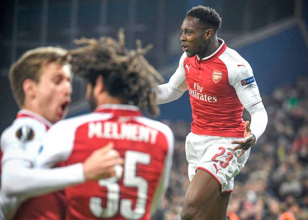 Arsenal's British striker Danny Welbeck celebrates after scoring a goal during the UEFA Europa League quarter-final second leg football match between CSKA Moscow and Arsenal at VEB Arena stadium in Moscow on April 12, 2018. / AFP PHOTO / Alexander NEMENOV