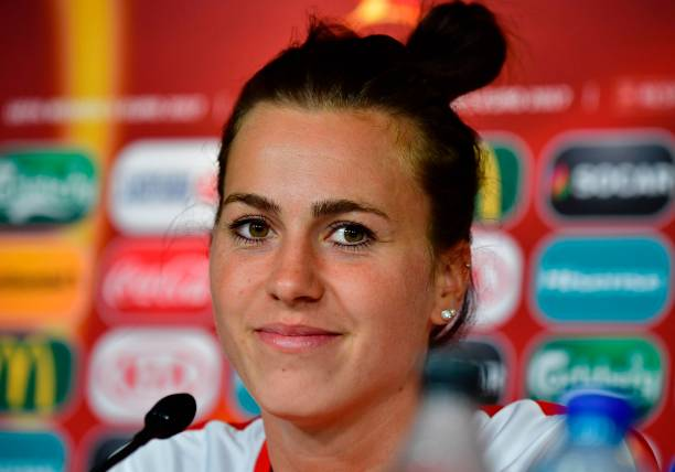 Austria's defender Viktoria Schnaderbeck looks on during press conference during the UEFA Women's Euro 2017 football tournament in Breda on August 2, 2017. / AFP PHOTO / TOBIAS SCHWARZ