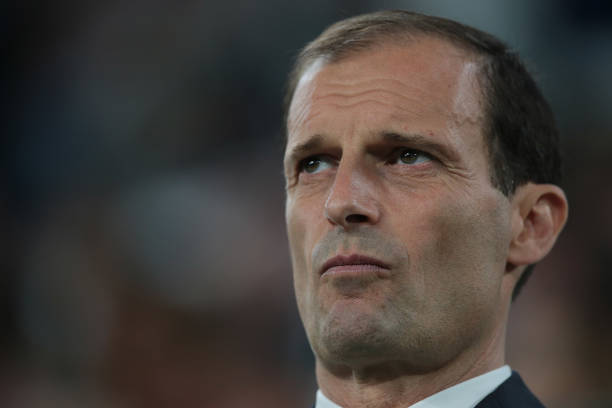 TURIN, ITALY - MAY 05: Juventus FC coach Massimiliano Allegri looks on before the serie A match between Juventus and Bologna FC at Allianz Stadium on May 5, 2018 in Turin, Italy. (Photo by Emilio Andreoli/Getty Images)