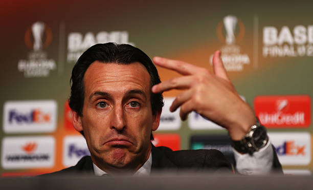 ASEL, SWITZERLAND - MAY 18: In this handout image provided by UEFA, Unai Emery coach of Sevilla attends a press conference after the UEFA Europa League Final match between Liverpool and Sevilla at St. Jakob-Park on May 18, 2016 in Basel, Switzerland. (Photo by Handout/UEFA via Getty Images)