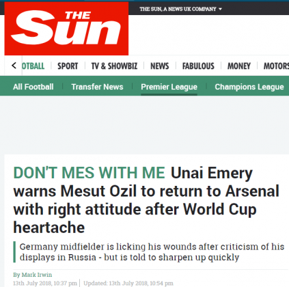 sun ozil headline 14 july 2018 2