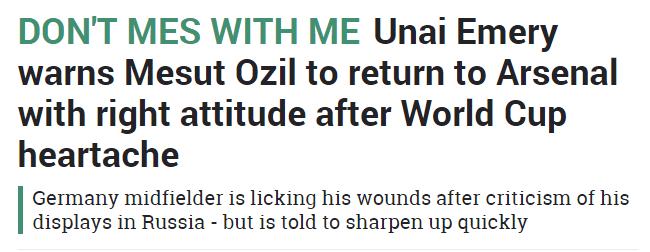 sun ozil headline 14 july 2018