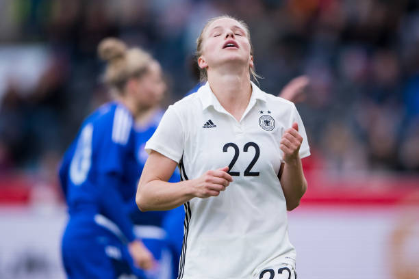 GROSSASPACH, GERMANY - OCTOBER 24: Tabea Kemme of Germany reacts during the 2019 FIFA Women's World Championship Qualifier match between Germany and Faroe Islands at mechatronik Arena on October 24, 2017 in Grossaspach, Germany. (Photo by Simon Hofmann/Bongarts/Getty Images)