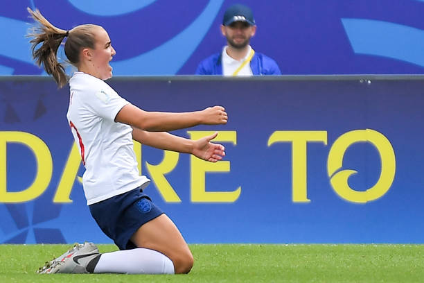 England's midfielder Georgia Stanway celebrates after scoring a goal during the Women's World Cup U20 quarter final football match between England and Netherlands on August 17, 2018, at the La Rabine Stadium in Vannes, western France. (Photo by LOIC VENANCE / AFP)