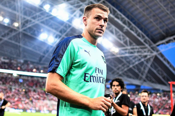 SINGAPORE - JULY 28: Aaron Ramsey #8 of Arsenal looks during the International Champions Cup match between Arsenal and Paris Saint Germain at the National Stadium on July 28, 2018 in Singapore. (Photo by Thananuwat Srirasant/Getty Images for ICC)