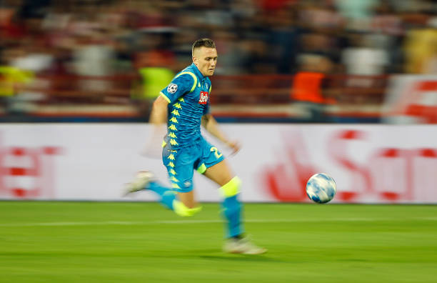 BELGRADE, SERBIA - SEPTEMBER 18: Piotr Zielinski of SSC Napoli in action during the Group C match of the UEFA Champions League between Crvena Zvezda Belgrade and SSC Napoli at Rajko Mitic Stadium on September 18, 2018 in Belgrade, Serbia. (Photo by Srdjan Stevanovic/Getty Images)