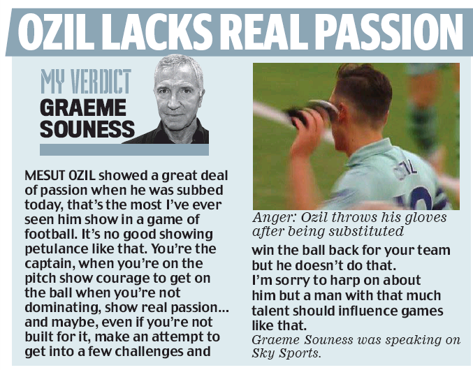 Graeme Souness in the Daily Mail, 29 October 2018