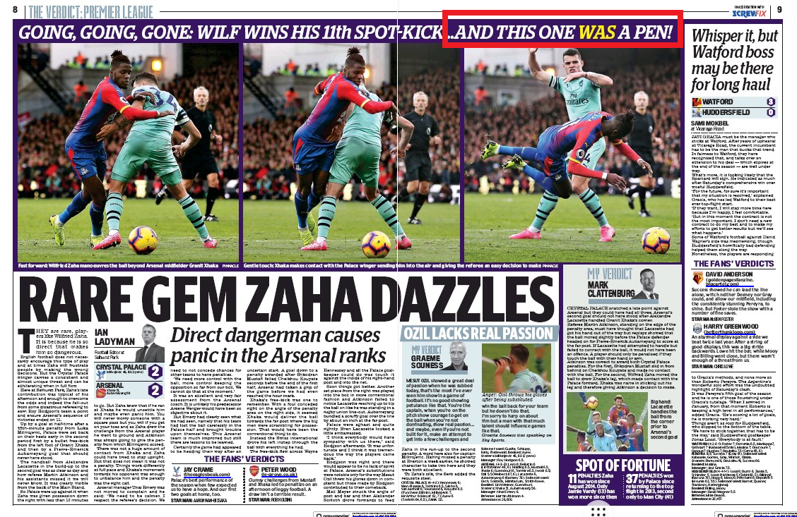 Crystal Palace v Arsenal coverage from the Daily Mail, 29 October 2018