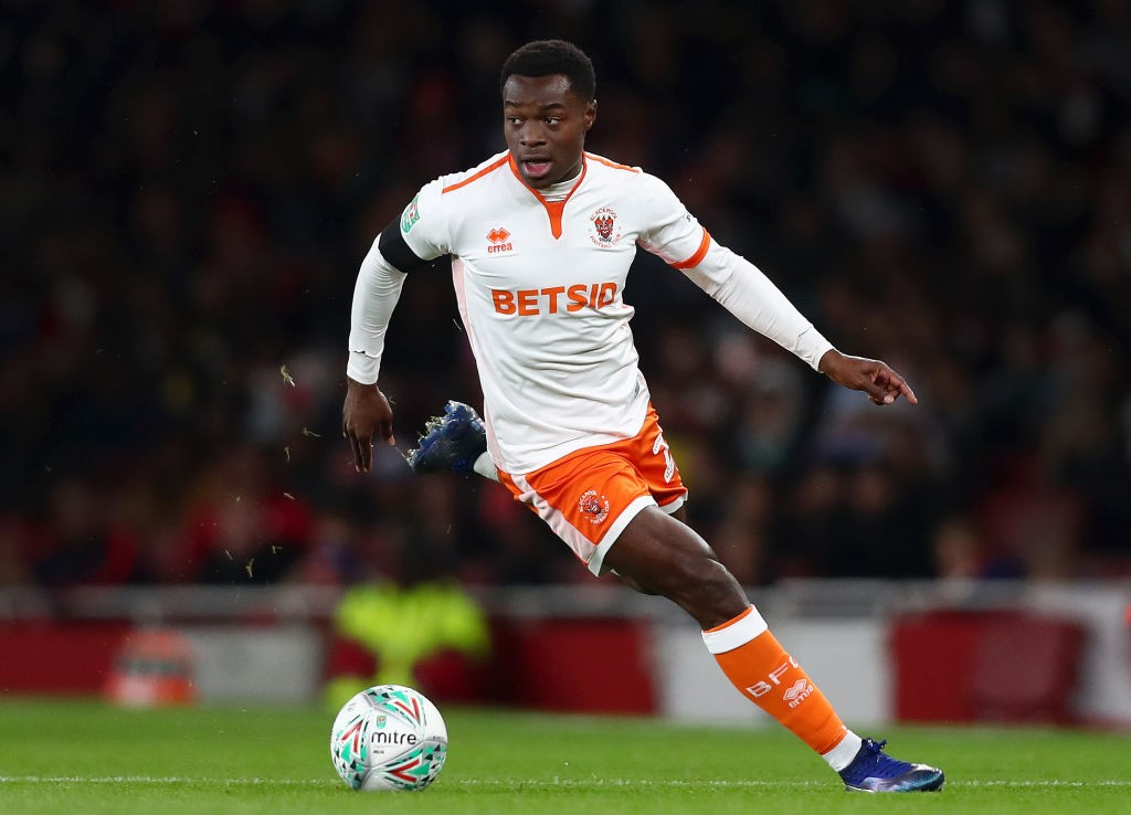LONDON, ENGLAND - OCTOBER 31: Marc Bola of Blackpool in action during the Carabao Cup Fourth Round match between Arsenal and Blackpool at Emirates Stadium on October 31, 2018 in London, England. (Photo by Naomi Baker/Getty Images)