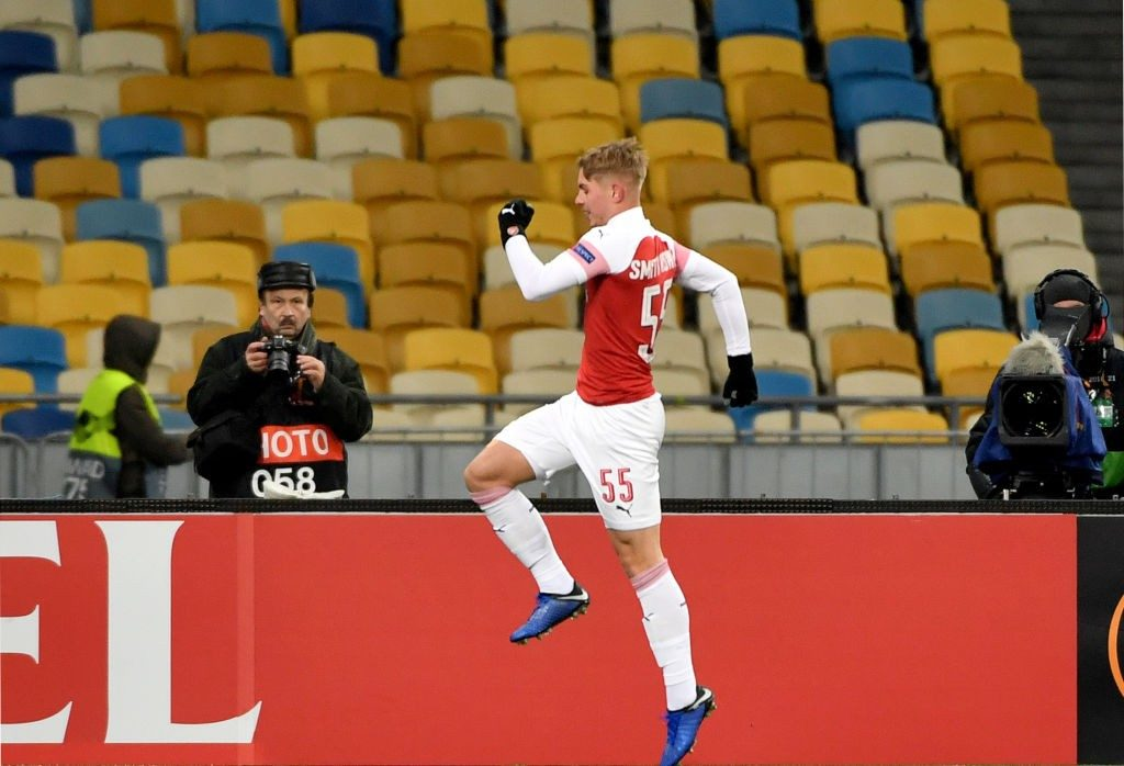 Arsenal Emile Smith Rowe celebrates his scoring during UEFA Europa League, Group E, football match Vorskla FC vs Arsenal FC at the Olympiyski Stadium in Kiev on November 29, 2018. (Photo by SERGEI SUPINSKY / AFP / Getty Images)
