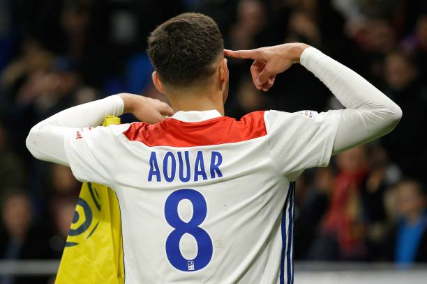 Lyon's French midfielder Houssem Aouar reacts after scoring a goal during the French L1 football match between Olympique Lyonnais and Girondins de Bordeaux on November 3, 2018, at the Groupama Stadium in Decines-Charpieu, central eastern France. (Photo by Alex MARTIN / AFP)