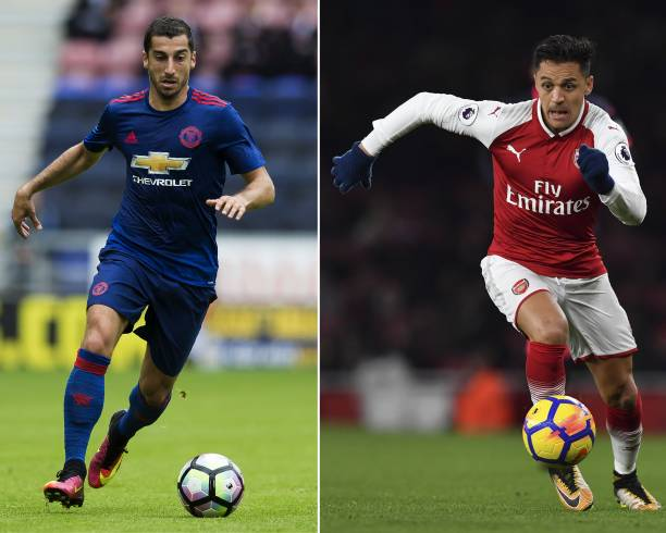 A combination image shows Manchester United's Armenian midfielder Henrikh Mkhitaryan (L) and Arsenal's Chilean striker Alexis Sanchez. Arsenal forward Alexis Sanchez and Manchester United midfielder Henrikh Mkhitaryan were set to undergo medicals as their swap deal nears completion, reports said January 21, 2018. / AFP PHOTO / JON SUPER (Photo credit should read JON SUPER/AFP/Getty Images)
