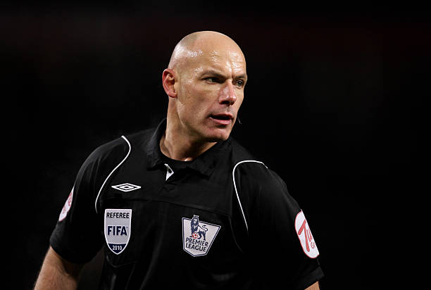 MANCHESTER, ENGLAND - DECEMBER 13: Referee Howard Webb looks on during the Barclays Premier League match between Manchester United and Arsenal at Old Trafford on December 13, 2010 in Manchester, England. (Photo by Alex Livesey/Getty Images)