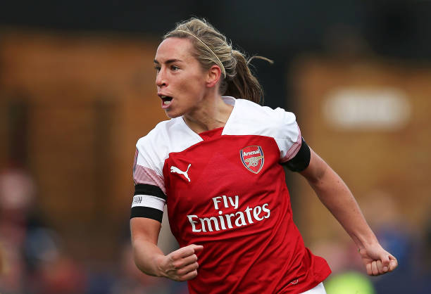 BOREHAMWOOD, ENGLAND - NOVEMBER 04: Jordan Nobbs of Arsenal celebrates after scoring her sides first goal during the WSL match between Arsenal Women and Birmingham Ladies at Meadow Park on November 4, 2018 in Borehamwood, England. (Photo by Jack Thomas/Getty Images)