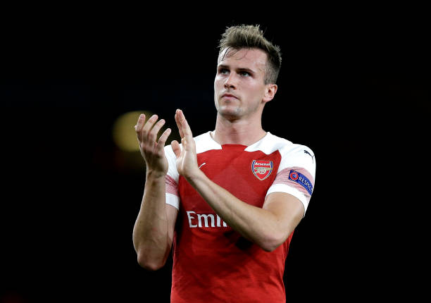 LONDON, ENGLAND - SEPTEMBER 20: Rob Holding of Arsenal acknowledges the fans after the UEFA Europa League Group E match between Arsenal and Vorskla Poltava at Emirates Stadium on September 20, 2018 in London, United Kingdom. (Photo by Henry Browne/Getty Images)