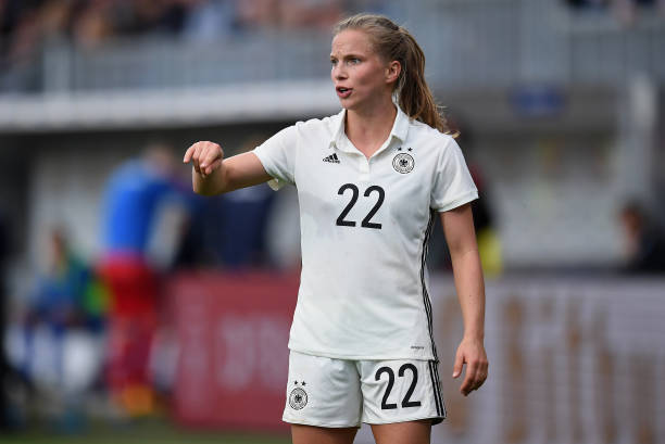 WIESBADEN, GERMANY - OCTOBER 20: Tabea Kemme of Germany gestures during the 2019 FIFA Women's World Championship Qualifier match between Germany and Iceland at BRITA-Arena on October 20, 2017 in Wiesbaden, Germany. (Photo by Matthias Hangst/Bongarts/Getty Images)