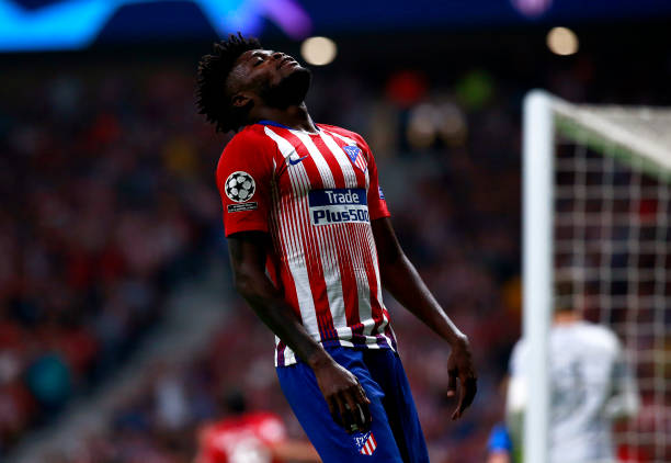 MADRID, SPAIN - OCTOBER 03: Thomas Partey of Atletico Madrid reacts during the Group A match of the UEFA Champions League between Club Atletico de Madrid and Club Brugge at Estadio Wanda Metropolitano on October 3, 2018 in Madrid, Spain. (Photo by Gonzalo Arroyo Moreno/Getty Images)