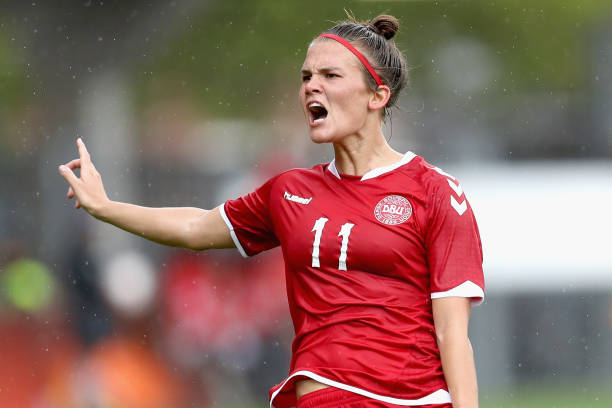 ROTTERDAM, NETHERLANDS - JULY 30: Katrine Veje of Denmark reacts during the UEFA Women's Euro 2017 Quarter Final match between Germany and Denmark at Sparta Stadion on July 30, 2017 in Rotterdam, Netherlands. (Photo by Maja Hitij/Getty Images)