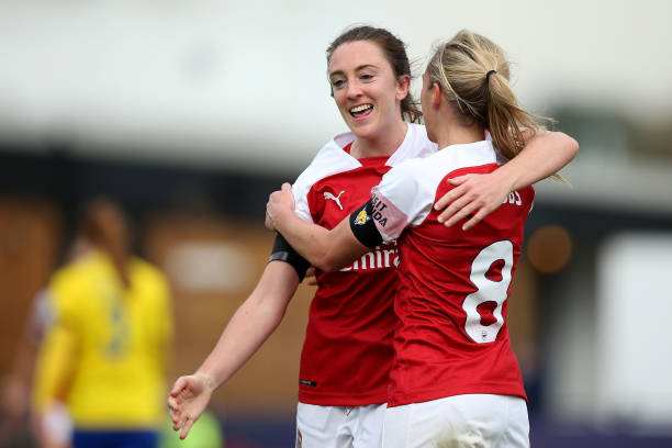 BOREHAMWOOD, ENGLAND - NOVEMBER 04: Jordan Nobbs of Arsenal celebrates scoring her sides third goal with Lisa Evans of Arsenal during the WSL match between Arsenal Women and Birmingham Ladies at Meadow Park on November 4, 2018 in Borehamwood, England. (Photo by Jack Thomas/Getty Images)