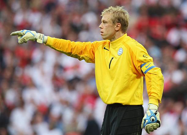 LONDON - OCTOBER 13: Mart Poom of Estonia gestures during the Euro 2008 Group E qualifying match between England and Estonia at Wembley Stadium on October 13, 2007 in London, England. (Photo by Phil Cole/Getty Images)