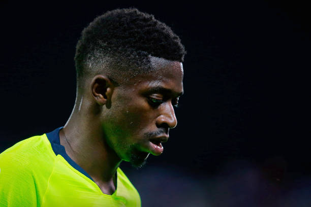 LEGANES, SPAIN - SEPTEMBER 26: Ousmane Dembele of FC Barcelona reacts during the La Liga match between CD Leganes and FC Barcelona at Estadio Municipal de Butarque on September 26, 2018 in Leganes, Spain. (Photo by Gonzalo Arroyo Moreno/Getty Images)