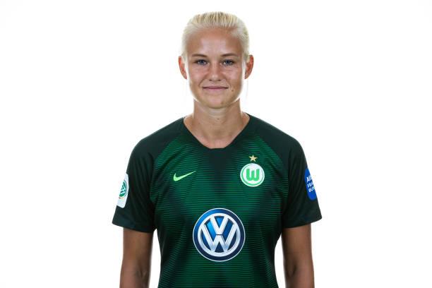 WOLFSBURG, GERMANY - JULY 26: Pernille Harder of VfL Wolfsburg poses during the Allianz Frauen Bundesliga Club Tour at AOK Stadion on July 26, 2018 in Wolfsburg, Germany. (Photo by Oliver Hardt/Getty Images)
