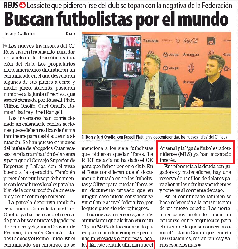 """New investors, in addition, announced that it will open between 10 and 24.9% of the shareholding so they can buy interested people or local businesses. In this sense they claim that the Arsenal and the league of american football (MLS) have already shown interest."" Mundo Deportivo, 26 January 2019"