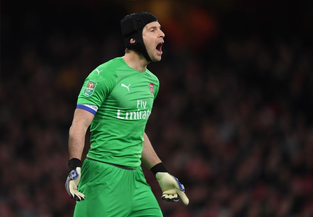 LONDON, ENGLAND - DECEMBER 19: Petr Cech of Arsenal during the Carabao Cup Quarter Final match between Arsenal and Tottenham Hotspurat Emirates Stadium on December 19, 2018 in London, United Kingdom. (Photo by Shaun Botterill/Getty Images)