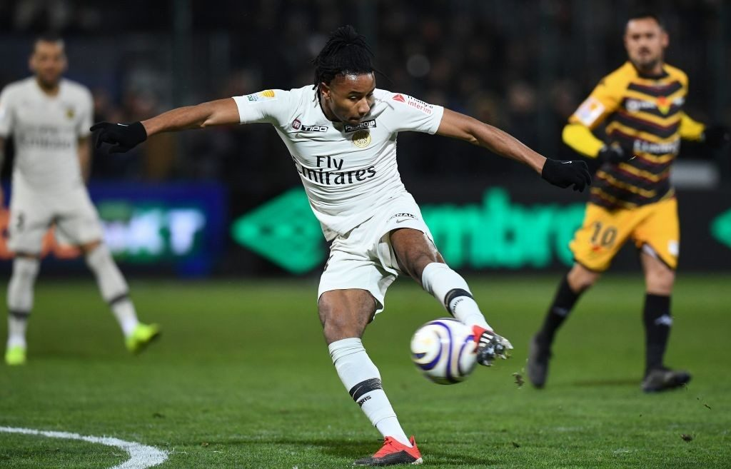 Paris Saint-Germain's French midfielder Christopher Nkunku kicks the ball during the French League Cup round of 8 football match between Orleans (USO) and Paris Saint-Germain (PSG) at the Source stadium in Orleans, on December 18, 2018. (Photo by FRANCK FIFE / AFP / Getty Images)