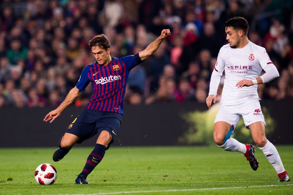 BARCELONA, SPAIN - DECEMBER 05: Denis Suarez of FC Barcelona shoots the ball under pressure from Jose Alonso of Cultural Leonesa and scores his team's second goal during the Copa del Rey fourth round second leg match between FC Barcelona and Cultural Leonesa at Camp Nou on December 05, 2018 in Barcelona, Spain. (Photo by Alex Caparros/Getty Images)