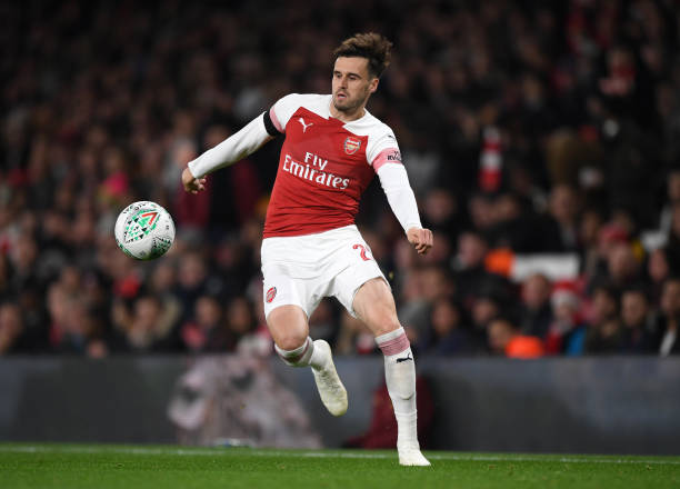 LONDON, ENGLAND - OCTOBER 31: Carl Jenkinson of Arsenal controls the ball during the Carabao Cup Fourth Round match between Arsenal and Blackpool at Emirates Stadium on October 31, 2018 in London, England. (Photo by Shaun Botterill/Getty Images)