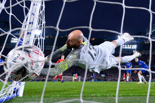 LONDON, ENGLAND - JANUARY 05:  Wilfredo Caballero of Chelsea makes a save during the FA Cup Third Round match between Chelsea and Nottingham Forest at Stamford Bridge on January 5, 2019 in London, United Kingdom. (Photo by Justin Setterfield/Getty Images)
