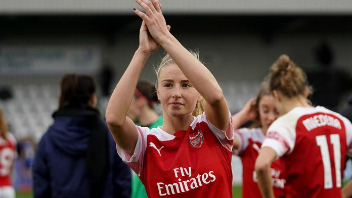 BOREHAMWOOD, ENGLAND, 13th January 2019: Leah Williamson of Arsenal thanking the fans postgame during the FA Women's Super league football match between Arsenal Women and Chelsea Women at Meadow Park on January 13th in Borehamwood, England. (DP)