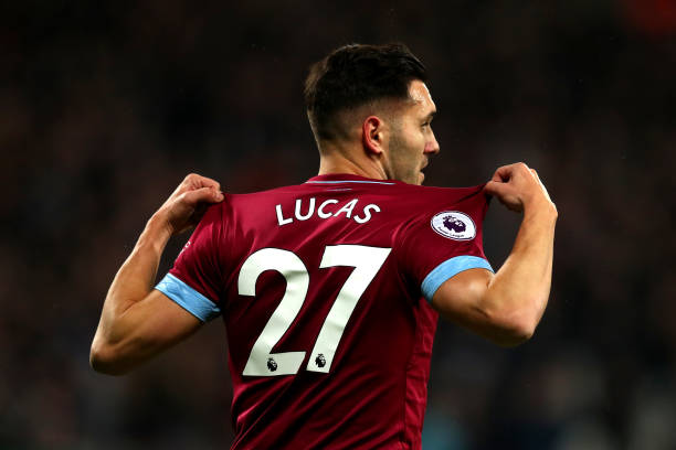 LONDON, ENGLAND - DECEMBER 04: Lucas Perez of West Ham United celebrates after scoring his team's second goal during the Premier League match between West Ham United and Cardiff City at London Stadium on December 4, 2018 in London, United Kingdom. (Photo by Dan Istitene/Getty Images)