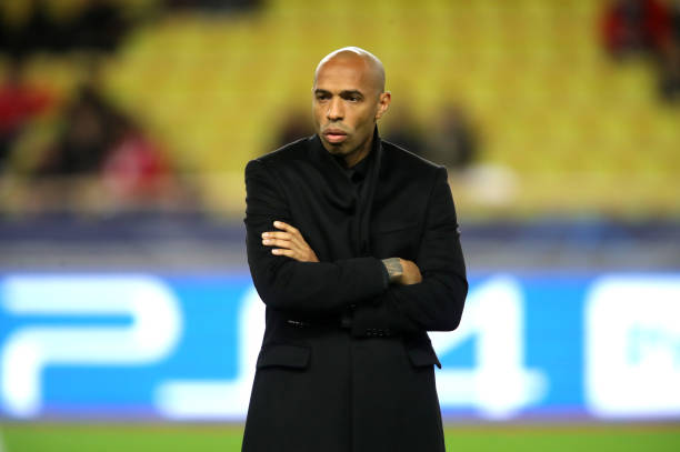MONACO - DECEMBER 11: Thierry Henry, Manager of Monaco looks on prior to the UEFA Champions League Group A match between AS Monaco and Borussia Dortmund at Stade Louis II on December 11, 2018 in Monaco, Monaco. (Photo by Alexander Hassenstein/Bongarts/Getty Images)