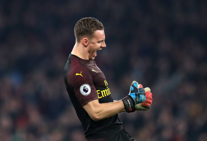 LONDON, ENGLAND - FEBRUARY 27: Bernd Leno of Arsenal celebrates his sides fourth goal during the Premier League match between Arsenal FC and AFC Bournemouth at Emirates Stadium on February 27, 2019 in London, United Kingdom. (Photo by Catherine Ivill/Getty Images)