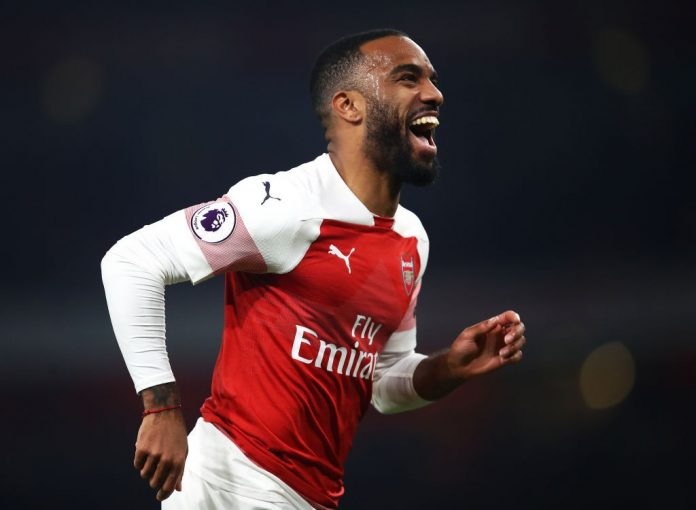 LONDON, ENGLAND - FEBRUARY 27: Alexandre Lacazette of Arsenal celebrates after scoring his team's fifth goal during the Premier League match between Arsenal FC and AFC Bournemouth at Emirates Stadium on February 27, 2019 in London, United Kingdom. (Photo by Julian Finney/Getty Images)