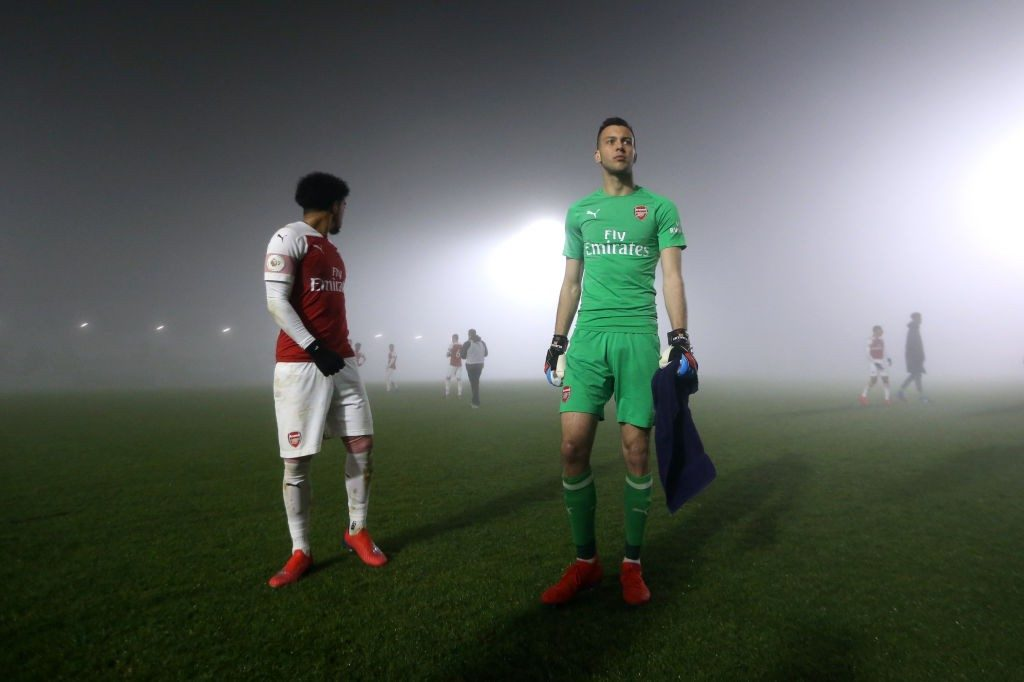BOREHAMWOOD, ENGLAND - FEBRUARY 04: Deyan Iliev of Arsenal awaits the referees decision during the Premier League 2 match between Arsenal and West Ham at Meadow Park on February 04, 2019 in Borehamwood, England. (Photo by Alex Pantling/Getty Images)