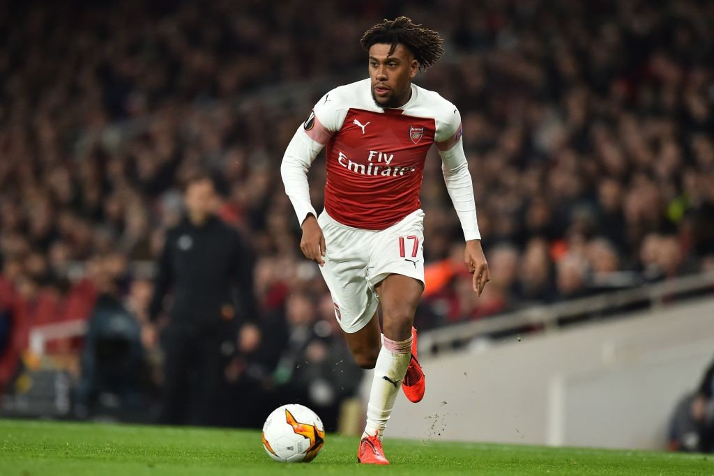 Arsenal's Nigerian striker Alex Iwobi runs with the ball during the UEFA Europa League round of 32, 2nd leg football match between Arsenal and Bate Borisov at the Emirates stadium in London on February 21, 2019. (Photo by Glyn KIRK / AFP / Getty Images)