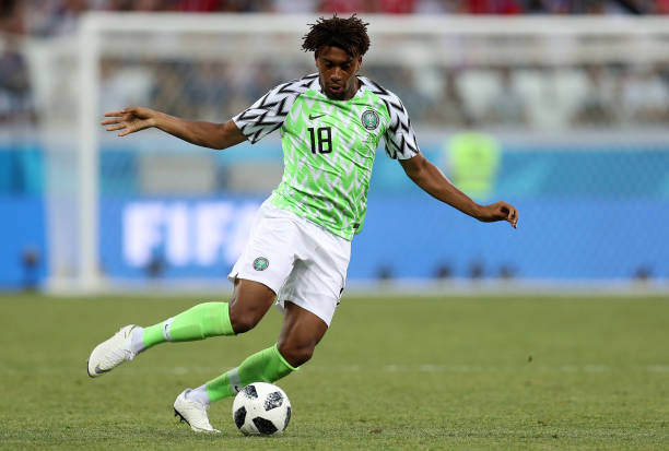 VOLGOGRAD, RUSSIA - JUNE 22: Alex Iwobi of Nigeria during the 2018 FIFA World Cup Russia group D match between Nigeria and Iceland at Volgograd Arena on June 22, 2018 in Volgograd, Russia. (Photo by Catherine Ivill/Getty Images)