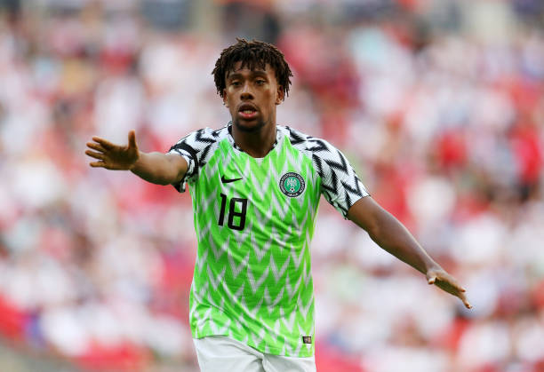 LONDON, ENGLAND - JUNE 02: Alex Iwobi of Nigeria during the International Friendly match between England and Nigeria at Wembley Stadium on June 2, 2018 in London, England. (Photo by Catherine Ivill/Getty Images)