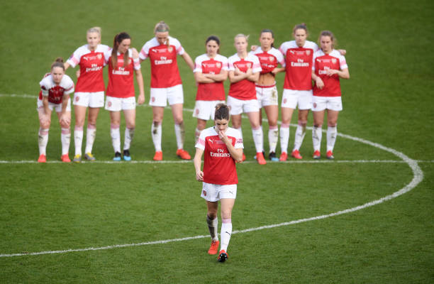 SHEFFIELD, ENGLAND - FEBRUARY 23: Dominque Bloodworth of Arsenal walks to take a penalty during a penalty shootout during the FA Women's Continental League Cup Final between Arsenal and Manchester City Women at Bramall Lane on February 23, 2019 in Sheffield, England. (Photo by Laurence Griffiths/Getty Images)