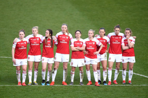 SHEFFIELD, ENGLAND - FEBRUARY 23: Arsenal players look dejected during the FA Women's Continental League Cup Final between Arsenal and Manchester City Women at Bramall Lane on February 23, 2019 in Sheffield, England. (Photo by Laurence Griffiths/Getty Images)