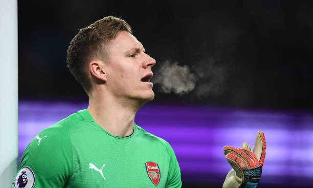 MANCHESTER, ENGLAND - FEBRUARY 03: Arsenal goalkeeper Bernd Leno reacts during the Premier League match between Manchester City and Arsenal FC at Etihad Stadium on February 03, 2019 in Manchester, United Kingdom. (Photo by Stu Forster/Getty Images)