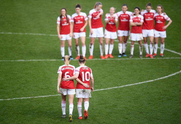 SHEFFIELD, ENGLAND - FEBRUARY 23: Leah Williamson and Kim Little of Arsenal look dejected following the FA Women's Continental League Cup Final between Arsenal and Manchester City Women at Bramall Lane on February 23, 2019 in Sheffield, England. (Photo by Laurence Griffiths/Getty Images)